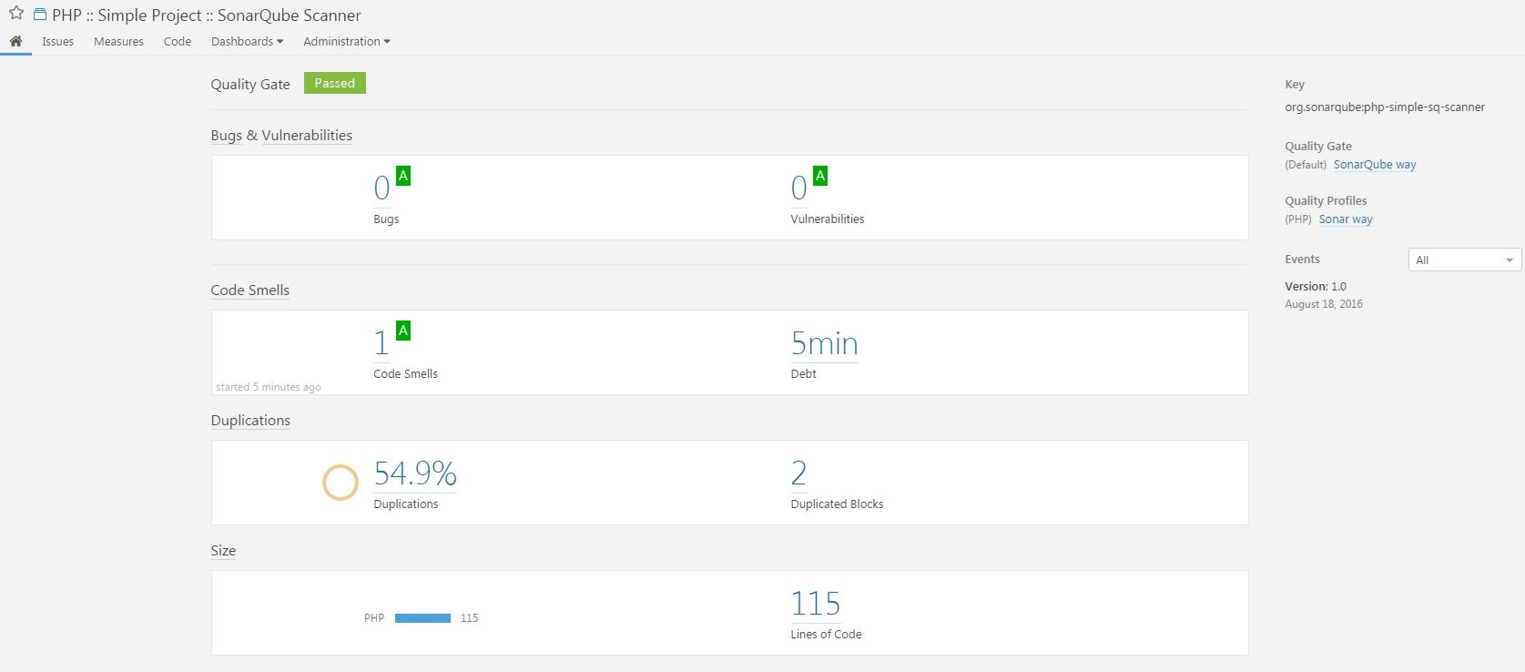 SonarQube-Scanner-PHP-Result