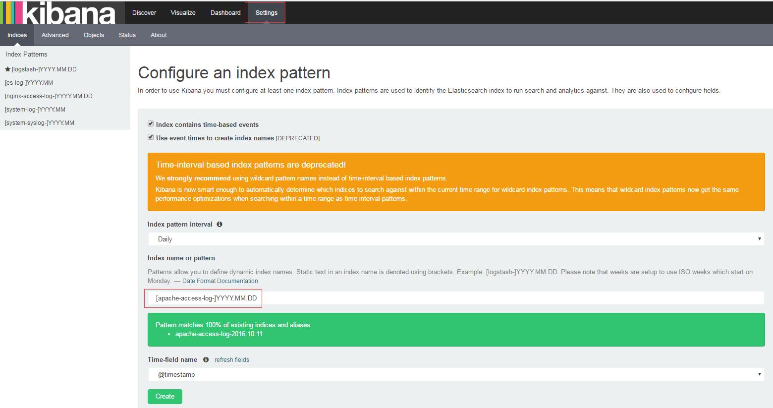Kibana-Configure-apache-index-pattern