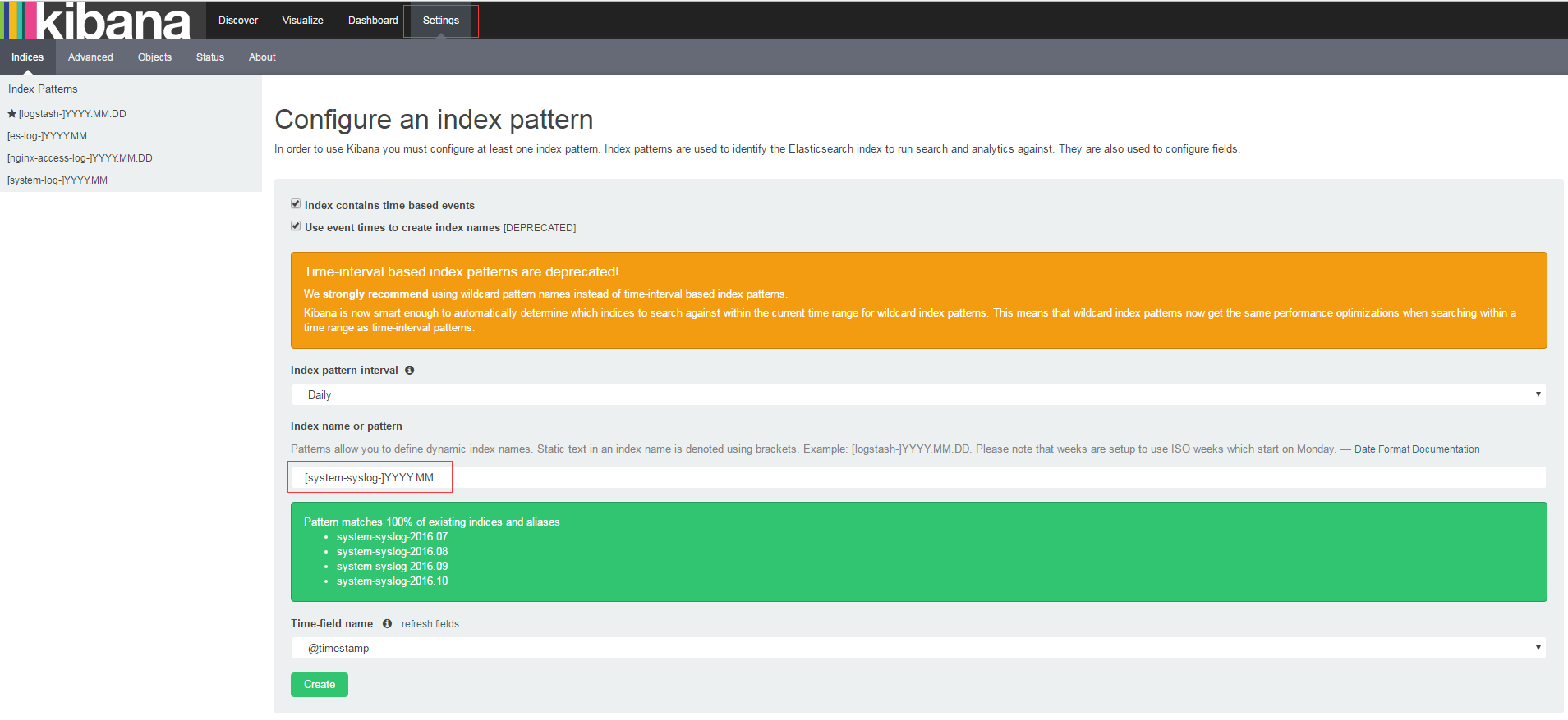 Kibana-Configure-index-pattern